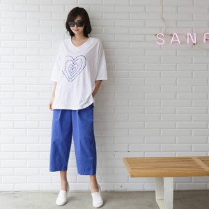 [zoozoom] Embroidery linen cotton T-shirt 3color / 26795