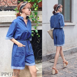 送料 0円★PPGIRL_9998 Engine jumpsuit / casual jumpsuit / mini dress / denim pants / half pants