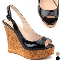 [韓国直送] [KUHEE] 2color/12cm Cork wedge sandals(12088)