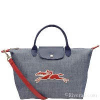 ロンシャン LONGCHAMP LE PLIAGE ON THE ROAD 2wayトートバッグ ネイビー コットン×レザー 1515-636-006 【Luxury Brand Selection】