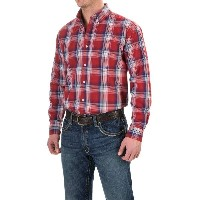 ローパー Roper メンズ トップス 長袖シャツ【Plaid Shirt - Button Front, Long Sleeve 】Red Indigo Fire