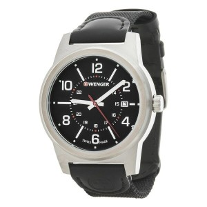 ウェンガー Wenger メンズ アクセサリー 腕時計【Field Classic Black Dial Swiss Quartz Watch - 43mm, Leather and Canvas...