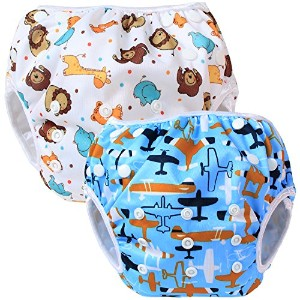 Teamoy Baby Swim Diaper Newborn Cloth Diaper Cover(Aircraft+ Fat Smile) by Teamoy