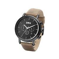 Edwin ELEMENT Men's Chronograph Watch, Black Stainless Steel Case and Brown Leather Band