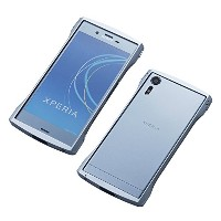Deff ディーフ アルミバンパー CLEAVE Aluminum Bumper Chrono for Xperia XZs (Xperia XZs, ブラック/ブラック) (アイスブルー)
