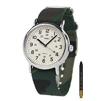 Timex Unisex T2P365 Weekender Green Camo Slip-Thru Nylon Strap Watch [海外直送品] + 無料ギフト(ボールペン) [並行輸入品]
