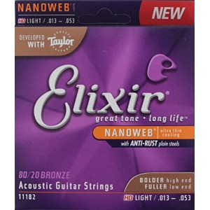 ELIXIR 11182 ACOUSTIC Bronze NANOWEB HD LIGHT 3セット