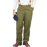 FREEWHEELERS フリーホイーラーズ GILMORE 1910 - 1920s OUTDOOR STYLE TROUSERS COTTON LINEN CHINO CLOTH OLIVE