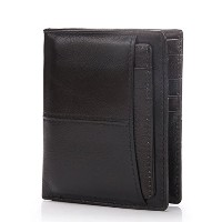 Zhhlinyuan 多機能性 Mens Black Luxury Wallet Money Organizer with Zipper Pocket Multi Card Slots Short...