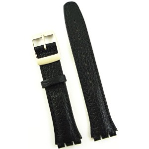 New 17mm (20mm) Sized Genuine Leather Strap Compatible for Swatch® Watch - Black - 400AA20