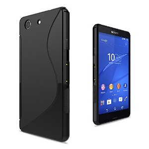 WOEXET SONY Xperia Z3 Compact ケース TPU素材 ソフト Sデザイン しなやかな手触り 薄 軽量 Xperia Z3Compactカバー 全2色 黒