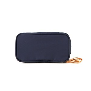 ithinkso DOUBLE ZIP MAKE UP POUCH ブラシが収納できるポーチ (ネイビー)