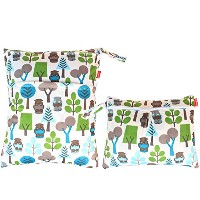 Damero 2pcs Pack Travel Baby Wet and Dry Cloth Diaper Organizer Bag, Green Forest by Damero