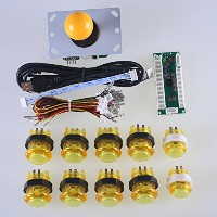 Reyann Zero Delay LED Arcade Game DIY Parts USB Pc to Joystick Encoder + 1 X Yellow 5pin 8 Way...