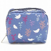 LeSportsac レスポートサック ポーチ 6701 SQUARE COSMETIC D916 SONG BIRDS BLUE [並行輸入商品]