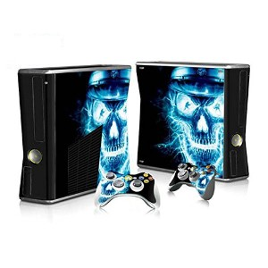 XBOX 360 Slim Skin Design Foils Faceplate Set - Blue Skull Design