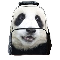 Lawlait Kids パンダ Animal Face Print Cute School Backpack (white panda)