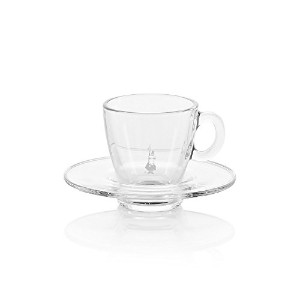 Bialetti Radiance Glass Espresso Cup with Saucer, 2-Ounce, Clear by Bialetti