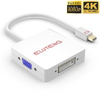 ELUTENG Mini DP to HDMI / DVI / VGA 変換アダプタ 4K Mini Displayport HDMI VGA DVI 変換 ケーブル 3in1 Thunderbolt...