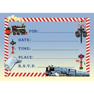 Dolce Mia Trains Birthday Party Invitations Party Pack - 8 cards by Dolce Mia Designs