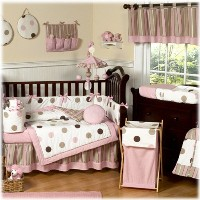 Contemporary Pink and Brown Modern Polka Dot Baby Girl Bedding 9pc Crib Set by Sweet Jojo Designs