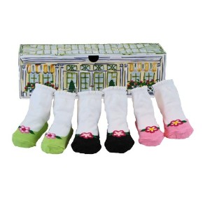 Dimples 649241852681 Garden Party Three Pairs Flower Flat Socks