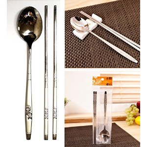 [QUEEN SENSE] ステンレススチールスプーンと箸6セット / Stainless Steel Spoon and Chopsticks 6Set / 花パット / Flower...