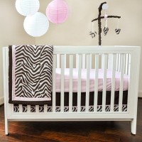 Pam Grace Creations BDNB-ZARA Zara Zebra 10 Piece Crib Set - pink, brown