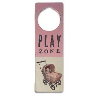Tree By Kerri Lee Wooden Doorknob Sign Play Zone, Pink by Tree by Kerri Lee