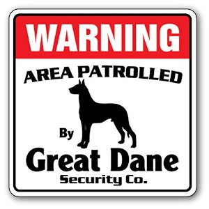 WARNING AREA PATROLLED By Great Dane Security Co.サインボード:グレートデーン 警備会社 セキュリティー パトロール 看板 Made in U.S.A...