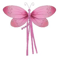 The Butterfly Grove Riley Dragonfly 3D Hanging Mesh Nylon Decor, Pink Carnation, Medium, 11 x 7 by...