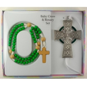 Baby Cross & Rosary Set - Celtic Cross with Green Wooden Rosary (McVan BS34) by KeegansCatholicTreas...