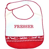 Jewish Baby Bib - Fresser (Yiddish Big Eater) by Davida for think-yiddish
