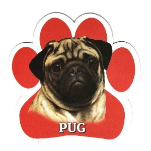PUG 足跡マグネットステッカー:パグ 画像イラスト入り 英語犬種名 Designed in the U.S.A [並行輸入品]