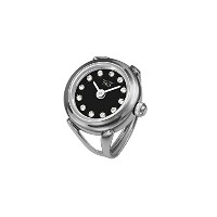 Davis 4173 レディースローズゴールドリングウォッチ Ladies Ring watch Black Dial Swarovski stones Adjustable