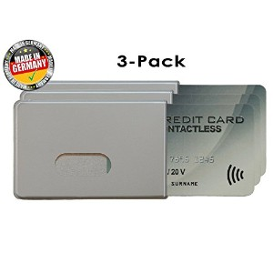 OPTEXX 3x RFID Blocking Sleeve Fred Silver TÜV testet and certified Credit- / Debit Card Protector...