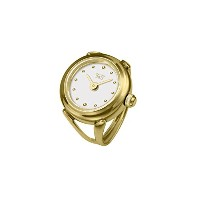 Davis 4180 レディースローズゴールドリングウォッチ Ladies Yellow Gold Ring watch White Dial with Index Adjustable