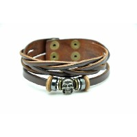 【Original Tribe】Fashion Punk Skull Leather Mens Cuff Bracelet Sl2655 【正規輸入品】 (Brown)