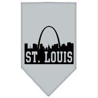 Mirage Pet Products 66-84 SMGY St Louis Skyline Screen Print Bandana Grey Small