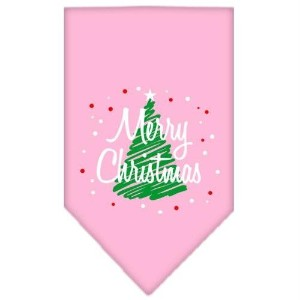 Mirage Pet Products 66-25-15 SMLPK Scribble Merry Christmas Screen Print Bandana Light Pink Small