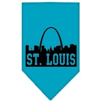 Mirage Pet Products 66-84 LGTQ St Louis Skyline Screen Print Bandana Turquoise Large
