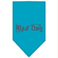 Mirage Pet Products 67-06 SMTQ Bad Dog Rhinestone Bandana Turquoise Small