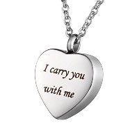 HOUSWEETY ステンレス製 ハート形 メモリアルネックレス 手元供養ペンダント 英文を刻印 I carry you with me