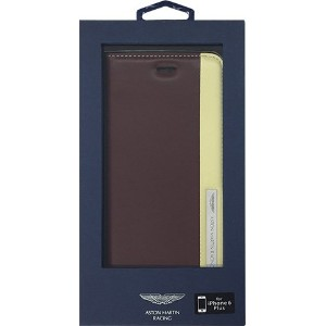 iPhone6 Plus専用本革手帳型ケース[Aston Martin Racing Genuine Leather Folio Case with Metal Logo TD Stripes...