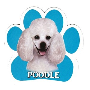 POODLE 足跡マグネットステッカー:プードル(ホワイト) 画像イラスト入り 英語犬種名 Designed in the U.S.A [並行輸入品]