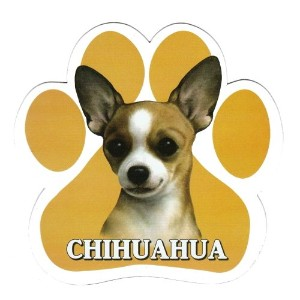 CHIHUAHUA 足跡マグネットステッカー:チワワ(クリーム) 画像イラスト入り 英語犬種名 Designed in the U.S.A [並行輸入品]