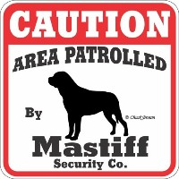 CAUTION AREA PATROLLED By Mastiff Security Co. サインボード:マスティフ 注意 警戒中 セキュリティ 看板 Made in U.S.A [並行輸入品]