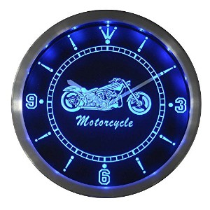 LEDネオンクロック 壁掛け時計 nc0355-b Motorcycle Bike Sales Services Neon Sign LED Wall Clock