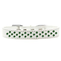Sprinkles Dog Collar Emerald Green Crystals Size 20 White