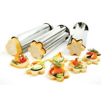 Norpro Set of 3 Bread Canape Tube/Mold 8.75x 3 Heart/Star/Flower Appetizers by Norpro